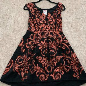 ANTHROPOLOGIE black/bronze cocktail dress SIZE 0P